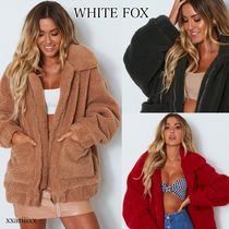 WHITE FOX Plain Oversized Cashmere & Fur Coats