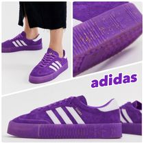 adidas Stripes Lace-up Casual Style Unisex Street Style Plain