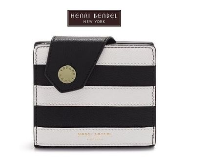 Stripes Blended Fabrics Leather Folding Wallets