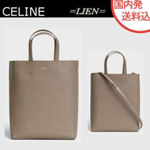 CELINE Cabas 2WAY Plain Leather Elegant Style Totes