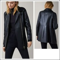 Massimo Dutti Street Style Plain Leather Medium Biker Jackets