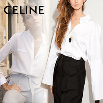 CELINE Cotton Puff Sleeves Shirts & Blouses