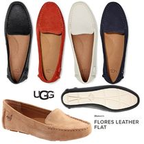 UGG Australia Plain Toe Moccasin Rubber Sole Plain Leather Flats