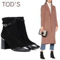 TOD'S Round Toe Rubber Sole Suede Blended Fabrics Plain
