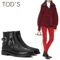 TOD'S Platform Plain Leather Elegant Style Ankle & Booties Boots