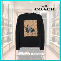 Coach Pullovers U-Neck Long Sleeves Cotton Sweatshirts