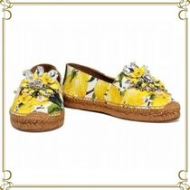 Dolce & Gabbana Flower Patterns Round Toe Casual Style Flats