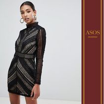 ASOS Short Tight Blended Fabrics Long Sleeves High-Neck Lace