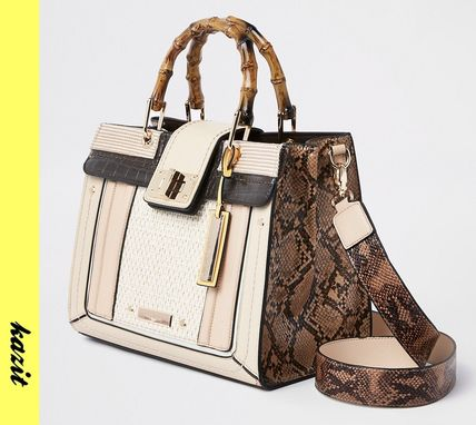 Casual Style Faux Fur 2WAY Python Totes