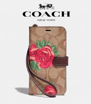 Coach Flower Patterns Leather Smart Phone Cases