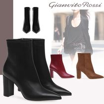 Gianvito Rossi Plain Leather Elegant Style Chunky Heels High Heel Boots
