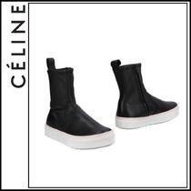 CELINE Round Toe Rubber Sole Casual Style Plain Leather