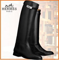HERMES Casual Style Plain Leather Over-the-Knee Boots