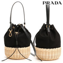 PRADA Blended Fabrics Plain Leather Purses Elegant Style Handbags