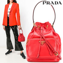 PRADA 2WAY Plain Leather Purses Elegant Style Handbags