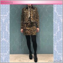 MiuMiu Short Leopard Patterns Casual Style Street Style Jackets
