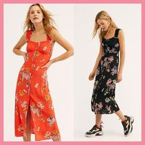 Free People Flower Patterns Casual Style Tight Sleeveless Medium Dresses