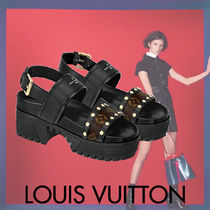 Louis Vuitton MONOGRAM Monogram Open Toe Platform Blended Fabrics Studded