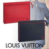 Louis Vuitton TAIGA Blended Fabrics Street Style Bi-color Leather Clutches
