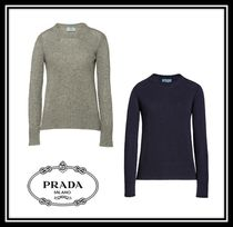 PRADA Crew Neck Cable Knit Casual Style Cashmere Long Sleeves