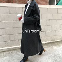 Stand Collar Coats Wool Plain Long Oversized Elegant Style