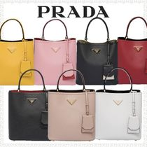 PRADA DOUBLE Saffiano Bi-color Plain Handbags