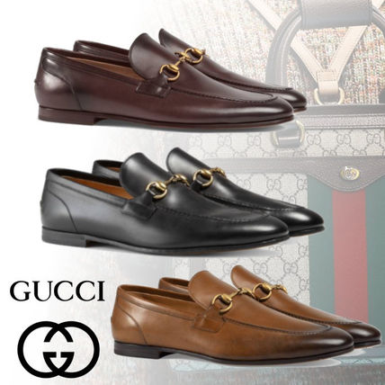 80ed89e9c66 ... GUCCI Loafers   Slip-ons Plain Toe Moccasin Unisex Plain Leather  Loafers ...