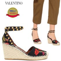 VALENTINO Flower Patterns Plain Toe Casual Style Studded