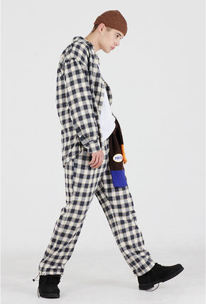 Other Plaid Patterns Street Style Long Sleeves Cotton Shirts