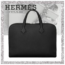 HERMES Victoria Plain Leather Business & Briefcases