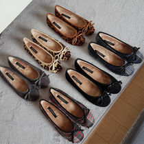 Other Check Patterns Round Toe Casual Style Suede Plain