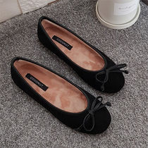 Other Plaid Patterns Round Toe Casual Style Suede Plain