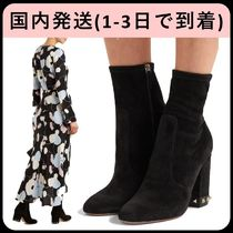 VALENTINO Suede Studded Plain Block Heels Ankle & Booties Boots