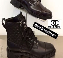 CHANEL Casual Style Plain Leather Block Heels Handmade