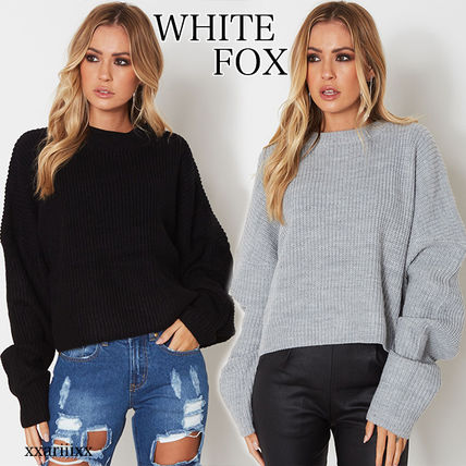 Casual Style Wool Blended Fabrics Street Style V-Neck