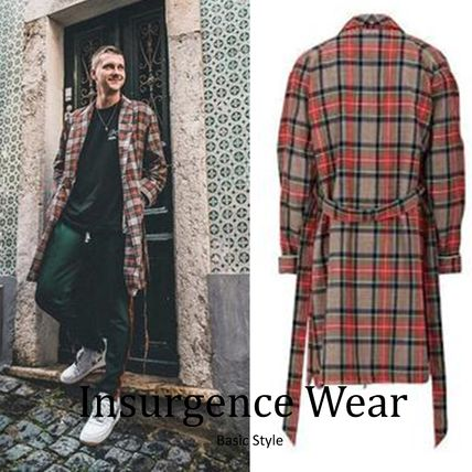 Other Check Patterns Street Style Long Coats