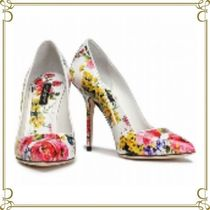 Dolce & Gabbana Flower Patterns Leather Pin Heels Party Style