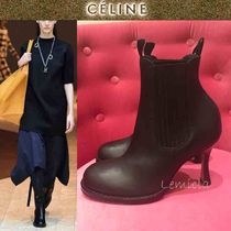CELINE Round Toe Lace-up Casual Style Plain Leather Pin Heels