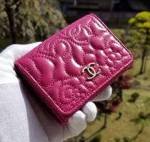 CHANEL ICON Flower Patterns Leather Folding Wallets