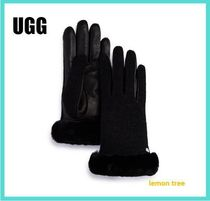 UGG Australia CLASSIC SHORT Faux Fur Plain Leather & Faux Leather Gloves