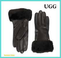 UGG Australia CLASSIC Plain Leather Leather & Faux Leather Gloves