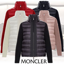 MONCLER Wool Long Sleeves Plain Logos on the Sleeves Cardigans