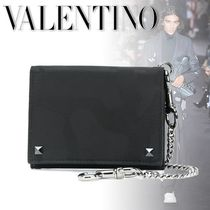 VALENTINO Camouflage Studded Chain Card Holders