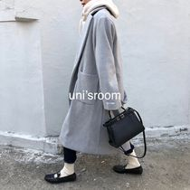 Wool Plain Long Oversized Elegant Style Chester Coats