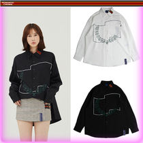 ROMANTIC CROWN Unisex Street Style Long Sleeves Long Shirts & Blouses