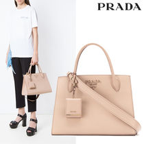 PRADA 2WAY Plain Leather Elegant Style Handbags