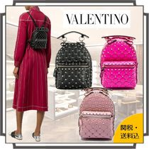 VALENTINO Casual Style Blended Fabrics Studded 2WAY Bi-color Plain