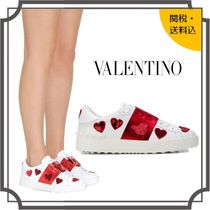VALENTINO Heart Round Toe Rubber Sole Lace-up Casual Style