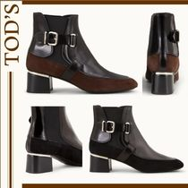 TOD'S Round Toe Plain Leather Block Heels Ankle & Booties Boots