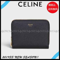 CELINE Unisex Calfskin Plain Folding Wallets